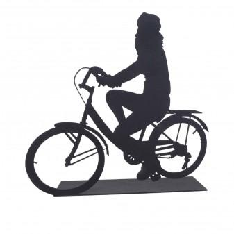 Svava Dekoratif Metal Kadın Bisiklet Sürücüsü Metal Heykeli (Siyah) (5)