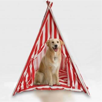 - Svava Kedi Köpek Çadırı - Küçük Irk Köpek Kulübesi (Kırmızı - Beyaz)