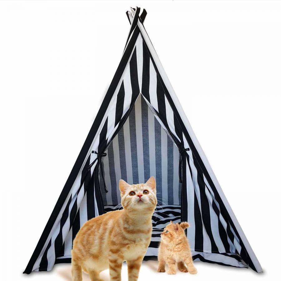 Svava Kedi Köpek Çadırı - Küçük Irk Köpek Kulübesi (Siyah - Beyaz)
