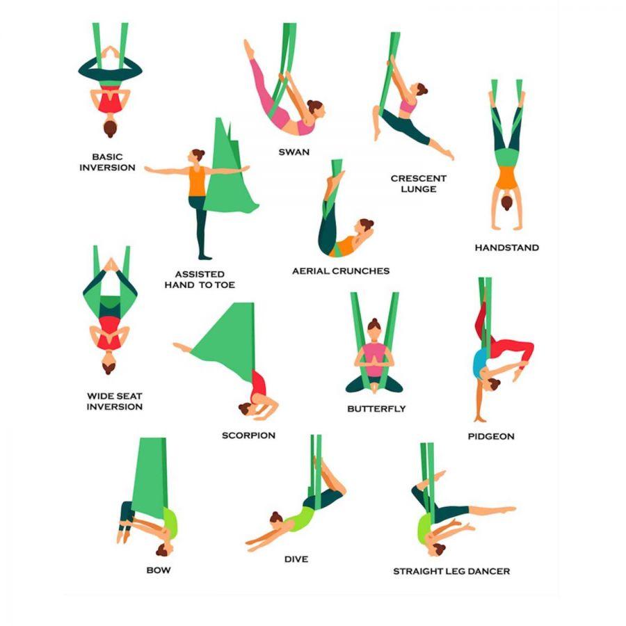 Yoga Fly Hamağı, Antigravity Askılı Yoga Denge Spor Aleti (Mavi)