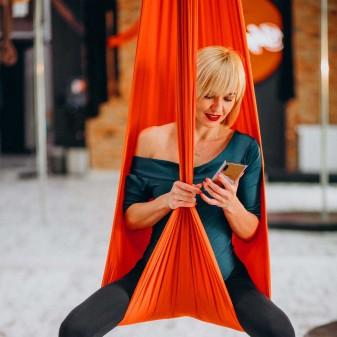 Yoga Fly Hamağı, Antigravity Askılı Yoga Denge Spor Aleti (Neon Turuncu) (2)