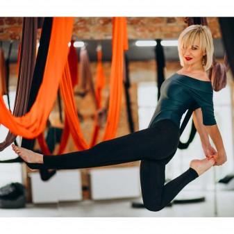 Yoga Fly Hamağı, Antigravity Askılı Yoga Denge Spor Aleti (Neon Turuncu) (3)