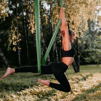 Yoga Fly Hamağı, Antigravity Askılı Yoga Denge Spor Aleti (Yeşil) (2)