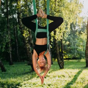 Yoga Fly Hamağı, Antigravity Askılı Yoga Denge Spor Aleti (Yeşil) (3)