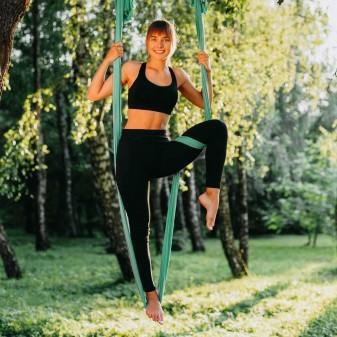 Yoga Fly Hamağı, Antigravity Askılı Yoga Denge Spor Aleti (Yeşil) (1)