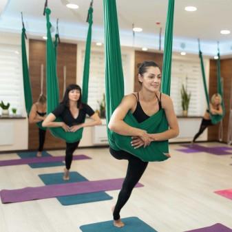Yoga Fly Hamağı, Antigravity Askılı Yoga Denge Spor Aleti (Yeşil) (4)